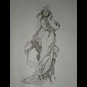 Rare Alphonse Mucha Signed Original Limited Edition Chromo Lithograph  1898 'Sans Sceptre, Sans Couronne' Framed.