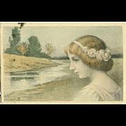 Vienne Art Nouveau Signed Postcard 1907.