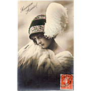 SALE: French Antique Real Photo Studio Christmas New Years Greetings Postcard 1911.