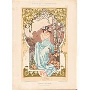 French Art Nouveau Chromo Lithograph 'Pluviose' Album de la Decoration 1900