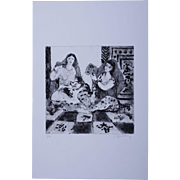 Modernist Orientalist Signed Harem Numbered Etching 4/30