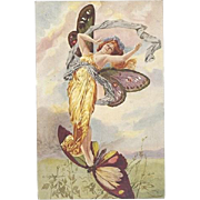 Rare French Art Nouveau Lady Riding a Butterfly Postcard c1900 Signed.