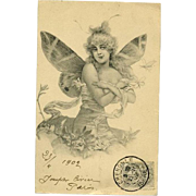 Antique French Lithographic Butterfly Lady Postcard No 4..1902