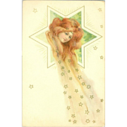 Red Head with Trailing Stars Art Nouveau German Lithographic Postcard  c1900.
