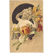 French Iris Language of Flowers Real Photo Color Antique Postcard  c1900