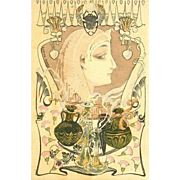 Signed French Advertising Postcard Egyptian Perfume by Gaston Noury 1903
