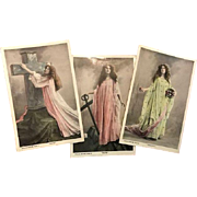 Three Virtues Real Photo Postcards Faith, Hope, Charity, 1907