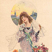 French Bride in Lavender Lithographic Advertising Postcard Art Nouveau era c1900