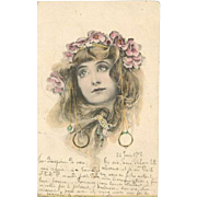 French Art Nouveau Toussaint Girl with Earrings Postcard 1902