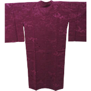Deep Purple Japanese Silk Michiyuki Kimono Coat with Jacquard Self Pattern of Scenery.