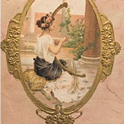 Gilded Silk Girl with Harp Postcard c1900