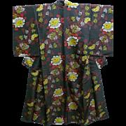 Antique Black & Floral Silky Jinken Kimono c1900
