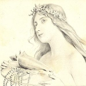 Beautiful Vienneoise French Art Nouveau  'Sea Maiden with Shell' Postcard 1904