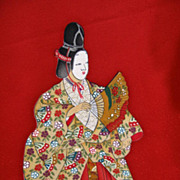 Vintage Noh Performer Samurai Gilded and Hand Painted Silk Homongi Kimono.