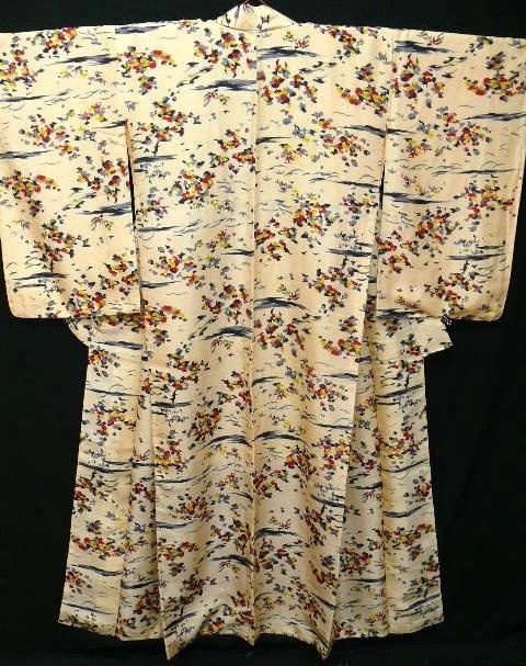 Antique Apricot Floral Silk Kimono c1895.