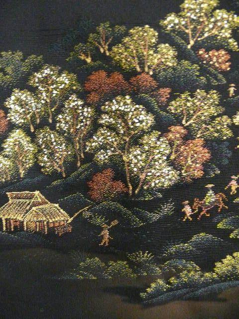 Art Deco Black Silk Haori Kimono with Village Pattern and Family Crest  c1930