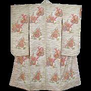 Pristine White Vintage Silk Floral Furisode Kimono c1960