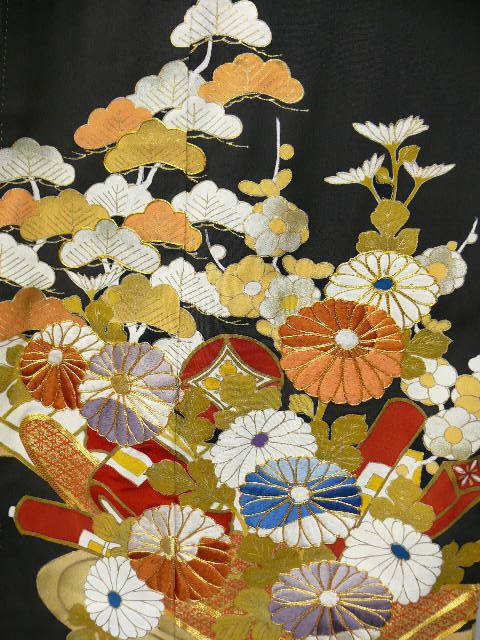 Art Deco Black Silk Tomasode Kimono with Gold Embroidery, Hand Painted Flowers & Family Crests