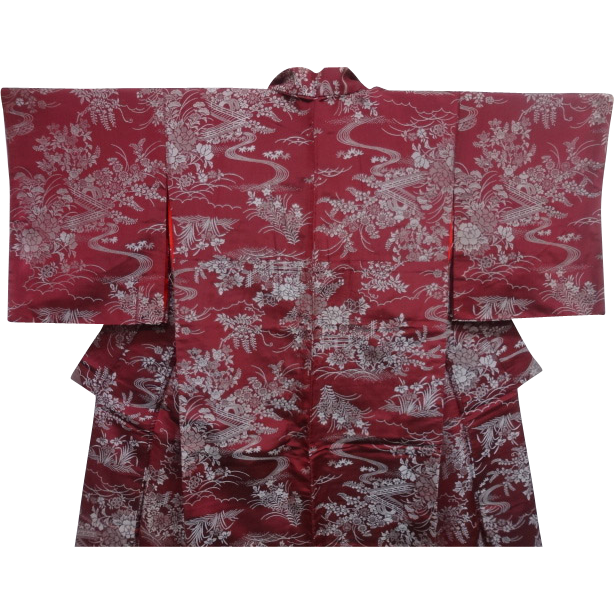 Antique Burgundy Silk Kimono with Silver Garden Pattern c1900.