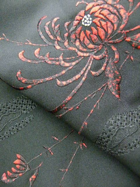 Bold Black and Red Embroidered and Painted Haori c1970