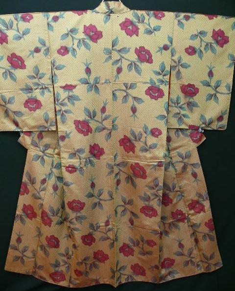 Art Nouveau Cerise and Beige Silk Kimono c1900