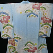 Stunning Pale Blue & Gold Embroidered Antique Silk Furisode Kimono with Hand Painted Detail. Breathtaking!
