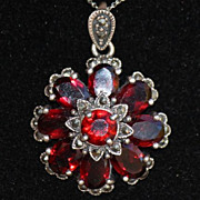 Sterling Garnet and Marcasite Nouveau Revival Flower Pendant