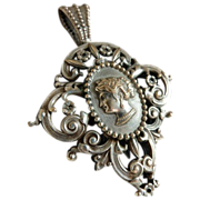 SALE: French Filigree Cameo Pendant..Victorian