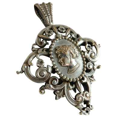 Victorian French Filigree Cameo Pendant