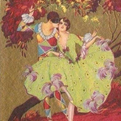 Art Deco Italian Artist Signed 'Harlequin' Postcard