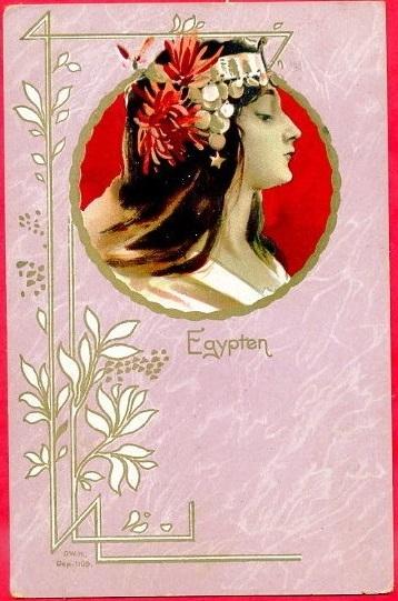 Antique Art Nouveau 'Egypten'  French Postcard c1900