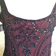 SALE: Beaded and Sequined Black Net 1930's Style Evening Gown with Burgundy Lining. Vavavoom!!