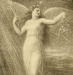 SALE: Original French Lithograph 'Immortalite' L'Estampe Moderne 1898. Signed Fantin-Latour Art Nouveau era.
