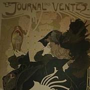 Rare Antique French Lithograph 'Le Journal des Ventes' Les Maitres de L'Affiche 1897