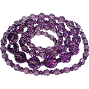 SALE: Amethyst Crystal Bead Flapper Necklace Art Deco
