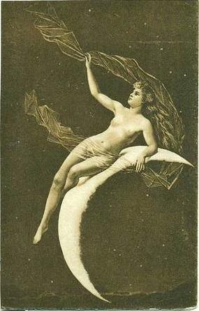 PAIR of Real Photo Slovenian Art Nouveau 'Heavenly Bodies' Postcards..Rare.
