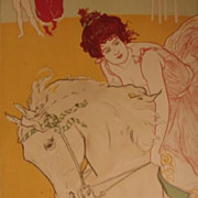 Original French Art Nouveau 'Hessian Horse Woman' Circus Lithograph L'Estampe Moderne 1898