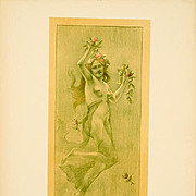 SALE: Original French Lithograph 'Dance' Lithograph L'Estampe Moderne 1897. Art Nouveau era Signed.