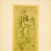 Original Signed French Lithograph 'Dance' Lithograph L'Estampe Moderne 1897