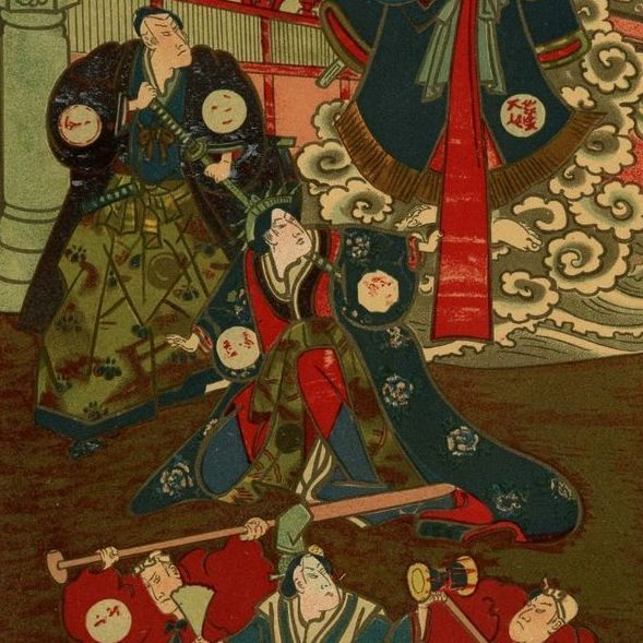 Original 'Japanese Theatre' French Lithograph  1897.