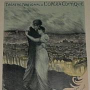 Original Signed French Lithograph 'L'Opera Comique' Les Maitres de L'Affiche 1900.