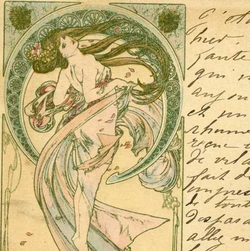 Alphonse Mucha Original Signed French Postcard 'La Danse' 1899