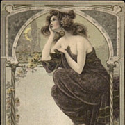SALE: Art Nouveau 'Beautiful Woman Moon Gazing' Postcard 1906