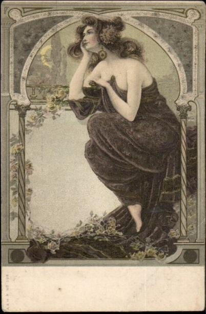 Art Nouveau 'Beautiful Woman Moon Gazing' Postcard 1906