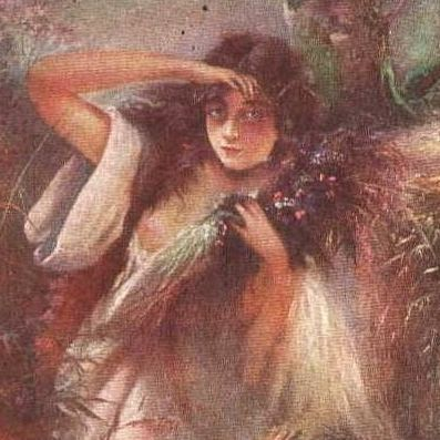 Stunning Antique Early Russian 'La Nymphe' Postcard c1900