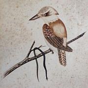 Original  Antique Australian Signed Pen, Ink, Watercolor 'Kookaburra with Black Snake' 1912.