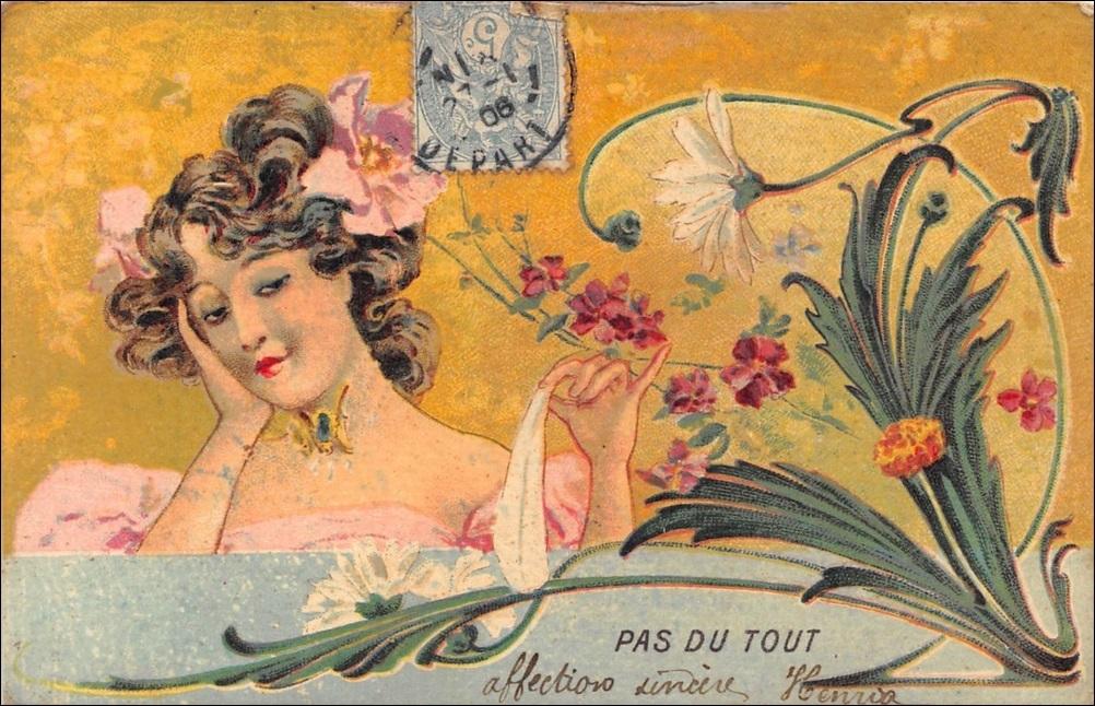 THREE French Art Nouveau Postcards 'Pas du Tout', 'Un Peu', 'Passionnement'!! 1906.