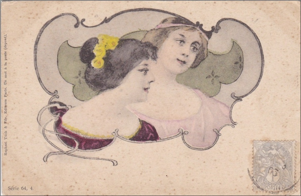 Art Nouveau French Tuck's Postcard c1900.