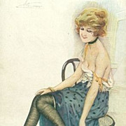 Art Deco French Artist Signed 'Girl with Black Stockings' Postcard.