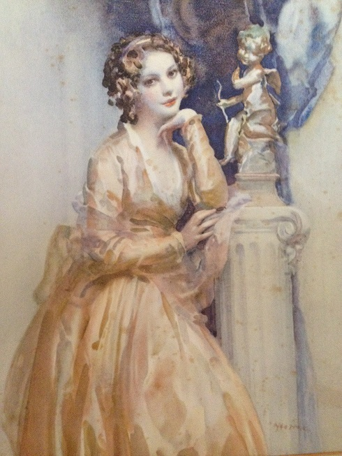 Art Deco Signed Book Print 'Monsieur Le Prince' or 'Portrait of a Young Lady by a Statue' c1920